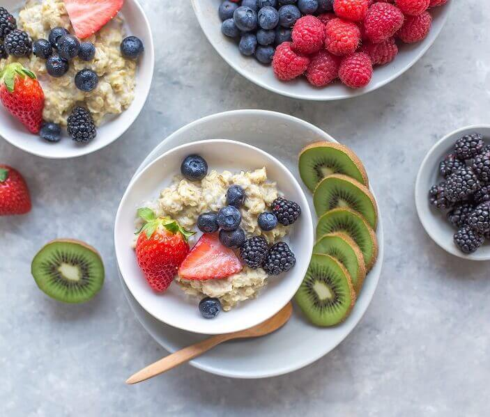 bowl of porridge with fruit